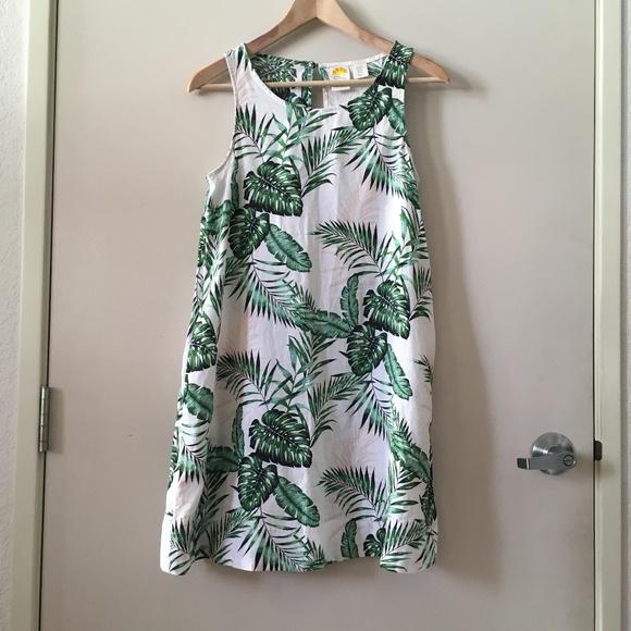 013f7044bfc C C California Linen Palm Leaf Print Dress